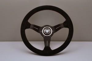 Nardi Deep Corn Steering Wheel - 330mm Black Suede/Red Stitch