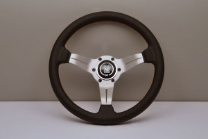 Nardi Deep Corn Steering Wheel - 330mm Black Leather/Red Stitching