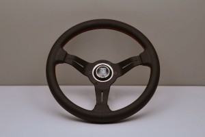 Nardi Deep Corn Steering Wheel - 330mm Black Leather/Red Stitch