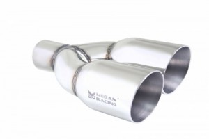 Megan Racing Universal Twin Stainless Steel Chrome 3.5-Inch Tips - Right Side (2.5-Inch Piping)