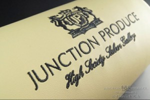 Junction Produce Cursive Neck Pads - Beige Leather/Black Embroidery (each)