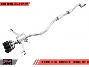 AWE Tuning Touring Edition Exhaust w/ Front Pipe + Mid Pipe - Honda Civic Type R FK8 (Triple Diamond Black Tips)