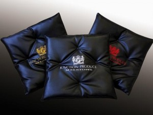 Junction Produce Missions Comfort Cushions - Black Leather/Silver Embroidery (each)