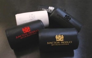Junction Produce Missions Neck Pads - Black Leather/Gold Embroidery (each)